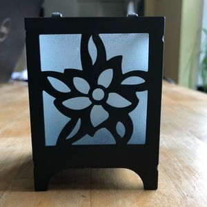 Gunmetal & Flower Frosted Glass Candle Holder